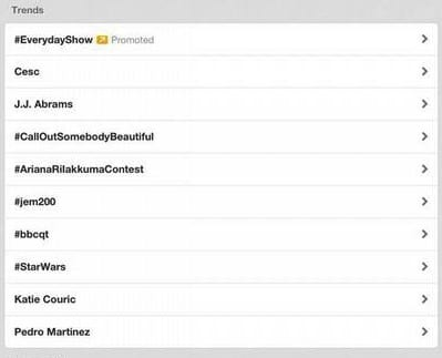 View of twitter trending box from iPad