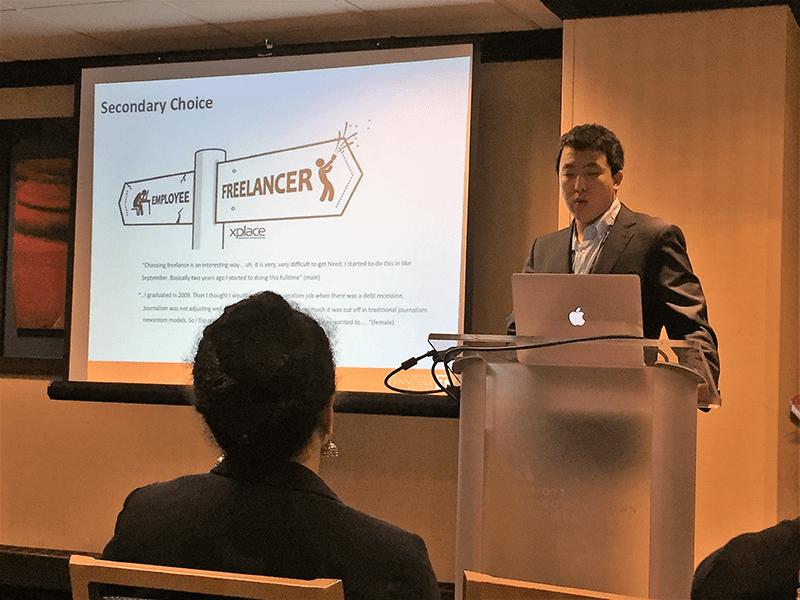 "Xu ""James"" Zhang presents his award-winning paper at AEJMC 2017 in Chicago."