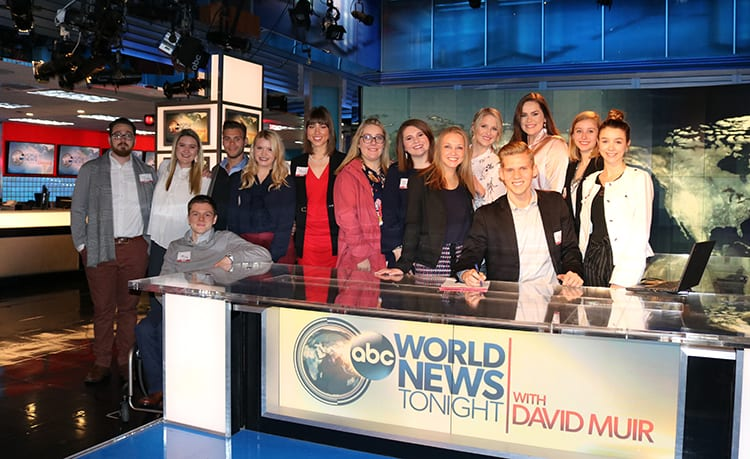 SPJ members pose for a group photo on the ABC World News Tonight set in New York, as part of an ABC News tour.