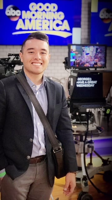 Justin Crawford on the set of ABC's Good Morning America. Image courtesy of Justin Crawford.